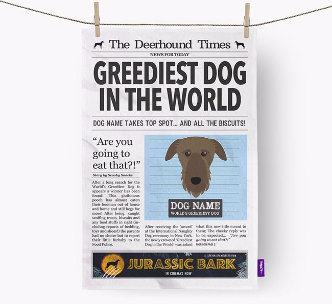 The Deerhound Times 'Greediest Dog In The World' Personalised Dish Towel