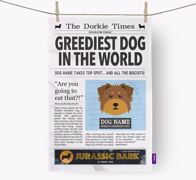 The Dorkie Times 'Greediest Dog In The World' Personalised Dish Towel