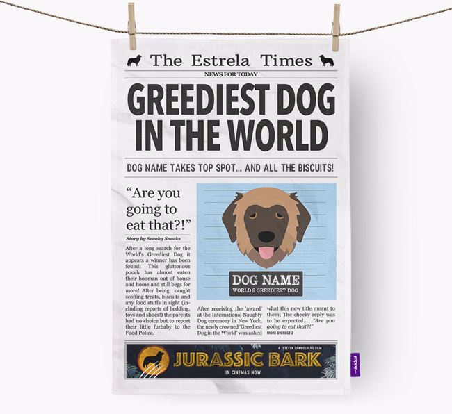 The Estrela Times 'Greediest Dog In The World' Personalised Dish Towel