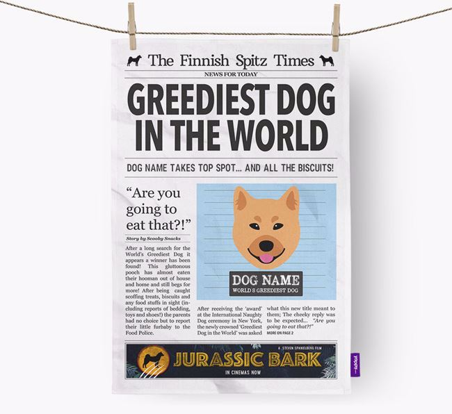The Finkie Times 'Greediest Dog In The World' Personalised Dish Towel