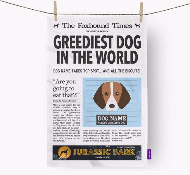 The Foxhound Times 'Greediest Dog In The World' Personalised Dish Towel