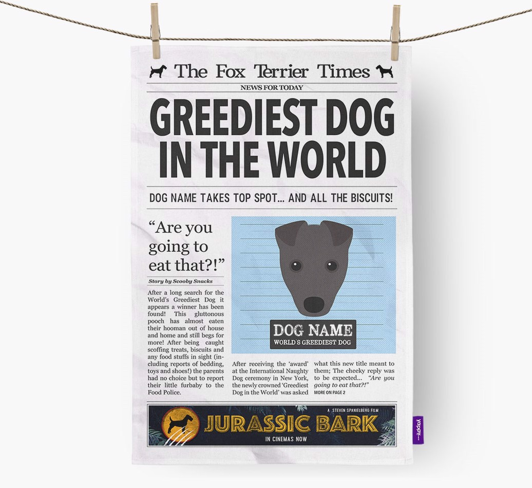 Personalised The Fox Terrier Times 'Greediest Dog In The World' Newspaper Tea Towel