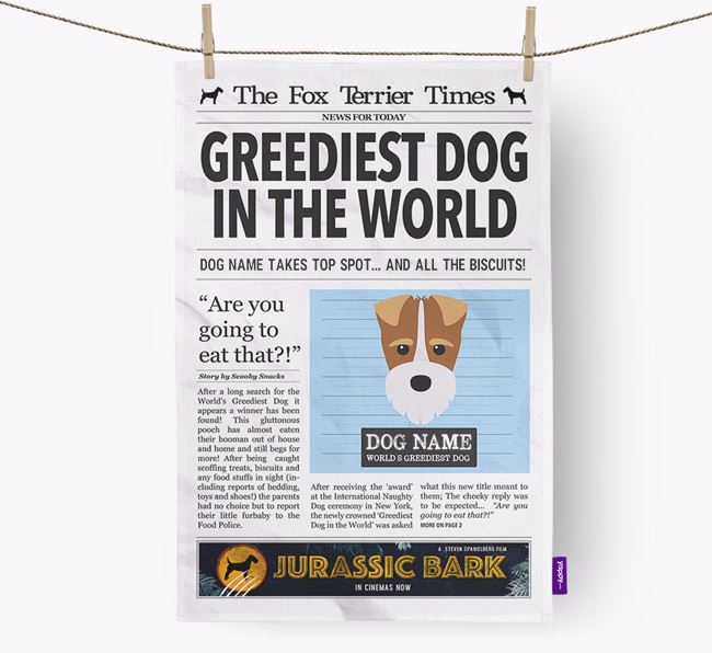 The Fox Terrier Times 'Greediest Dog In The World' Personalised Dish Towel