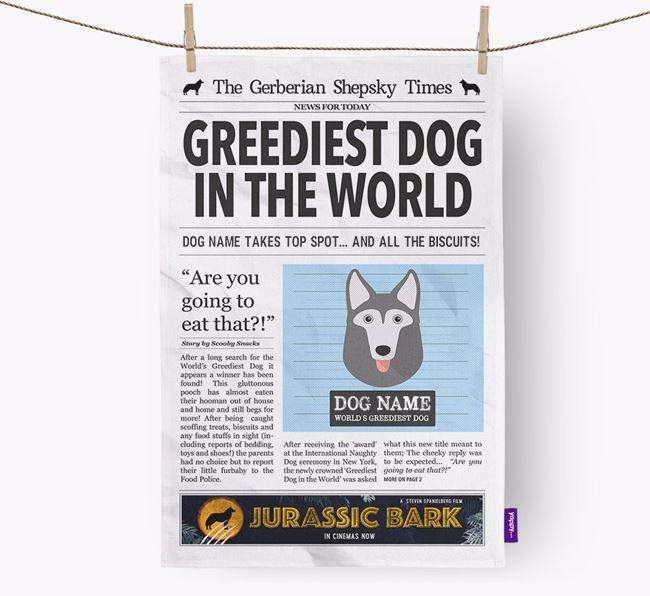 The German Husky Times 'Greediest Dog In The World' Personalised Dish Towel