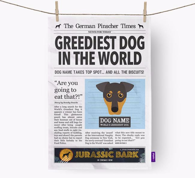 The Pinscher Times 'Greediest Dog In The World' Personalised Dish Towel