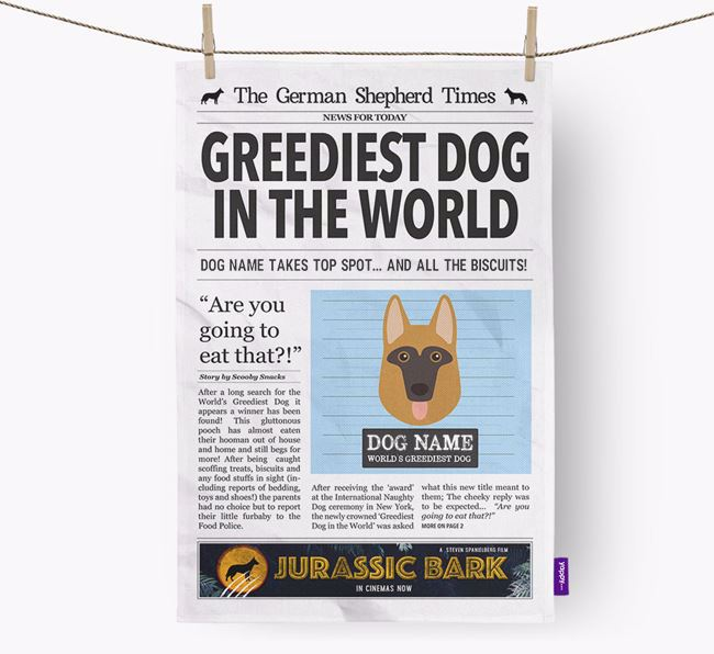 The Dog Times 'Greediest Dog In The World' Personalised Dish Towel