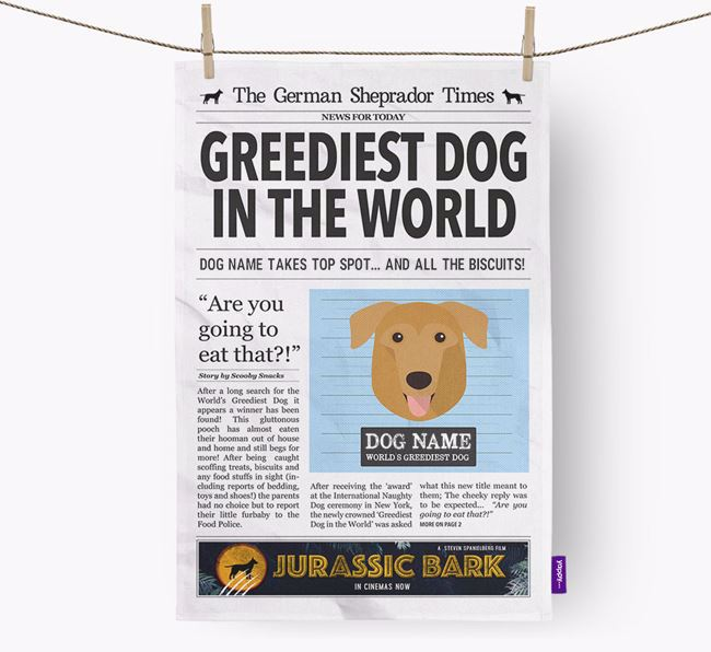 The Sheprador Times 'Greediest Dog In The World' Personalised Dish Towel