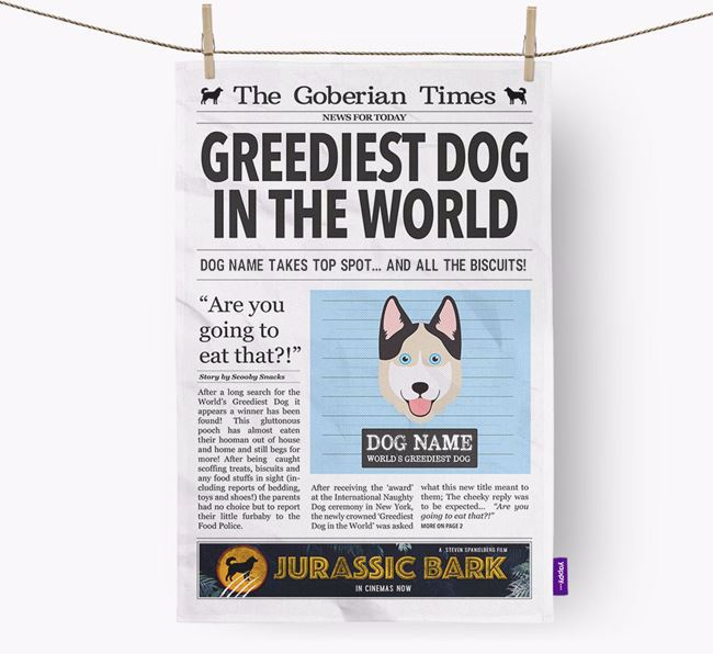 The Goberian Times 'Greediest Dog In The World' Personalised Dish Towel