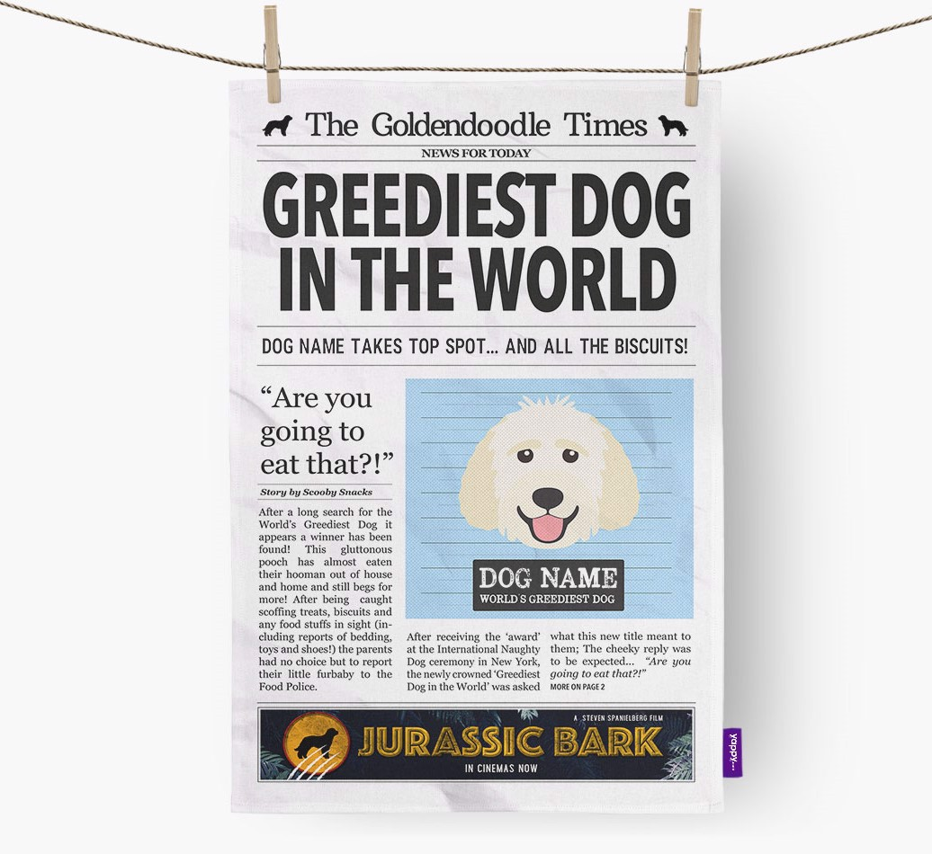 Personalised The Goldendoodle Times 'Greediest Dog In The World' Newspaper Tea Towel