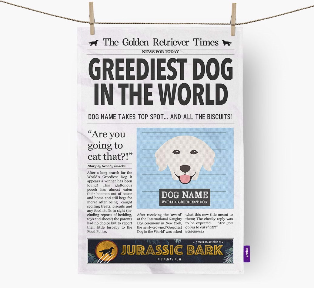 Personalised The Golden Retriever Times 'Greediest Dog In The World' Newspaper Tea Towel