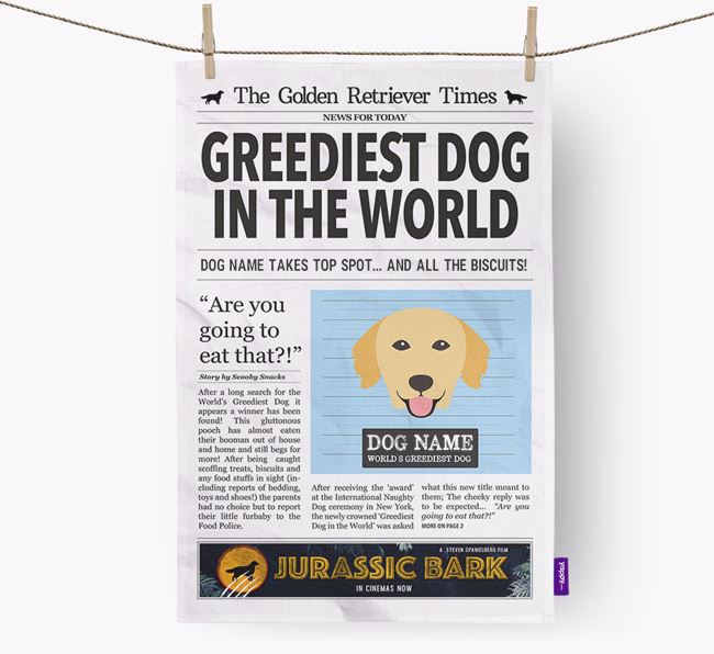 The Retriever Times 'Greediest Dog In The World' Personalised Dish Towel