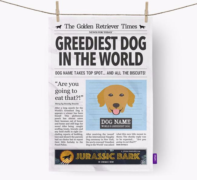 The Retriever Times 'Greediest Dog In The World' Personalised Tea Towel