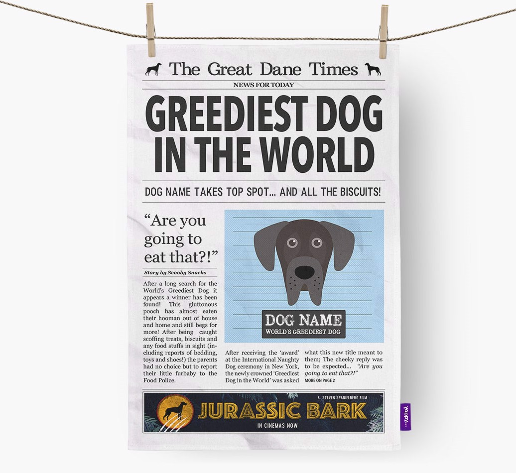 Personalised The Great Dane Times 'Greediest Dog In The World' Newspaper Tea Towel