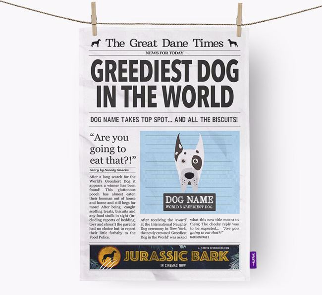 The Great Dane Times 'Greediest Dog In The World' Personalised Dish Towel