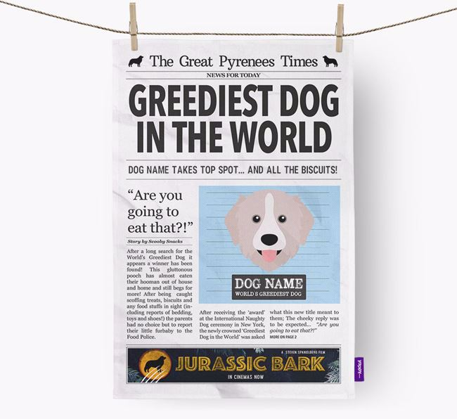 The Great Pyrenees Times 'Greediest Dog In The World' Personalised Dish Towel