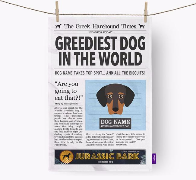 The Greek Harehound Times 'Greediest Dog In The World' Personalised Dish Towel