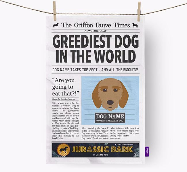 The Fauve Times 'Greediest Dog In The World' Personalised Dish Towel