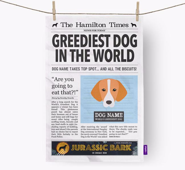 The Hamilton Times 'Greediest Dog In The World' Personalised Dish Towel