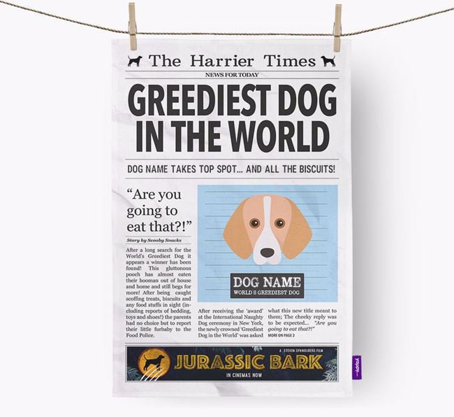The Harrier Times 'Greediest Dog In The World' Personalised Dish Towel