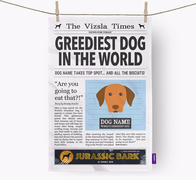 The Dog Times 'Greediest Dog In The World' Personalised Tea Towel