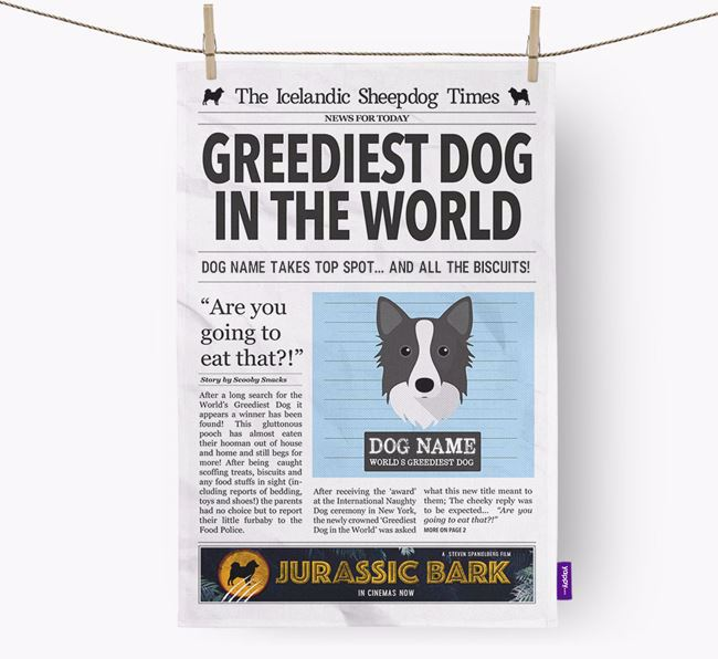 The Icelandic Spitz Times 'Greediest Dog In The World' Personalised Dish Towel
