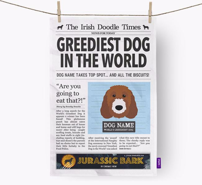 The Irish Doodle Times 'Greediest Dog In The World' Personalised Dish Towel