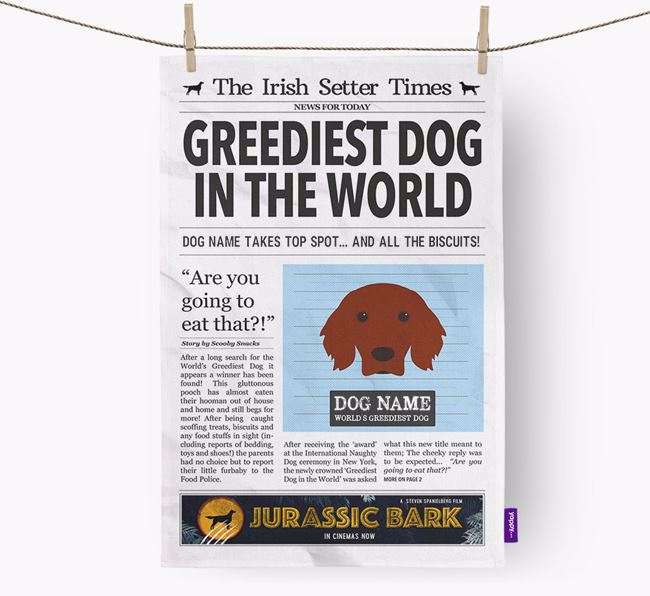 The Red Setter Times 'Greediest Dog In The World' Personalised Dish Towel