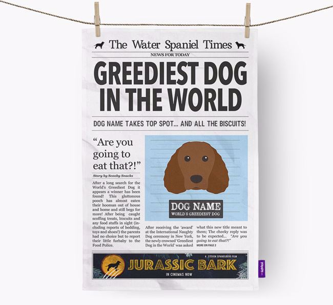 The Water Spaniel Times 'Greediest Dog In The World' Personalised Dish Towel