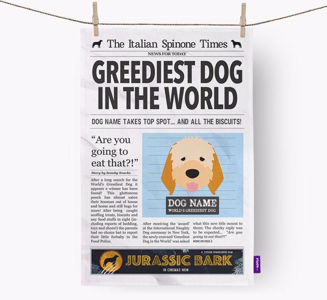 The Spinone Times 'Greediest Dog In The World' Personalised Dish Towel
