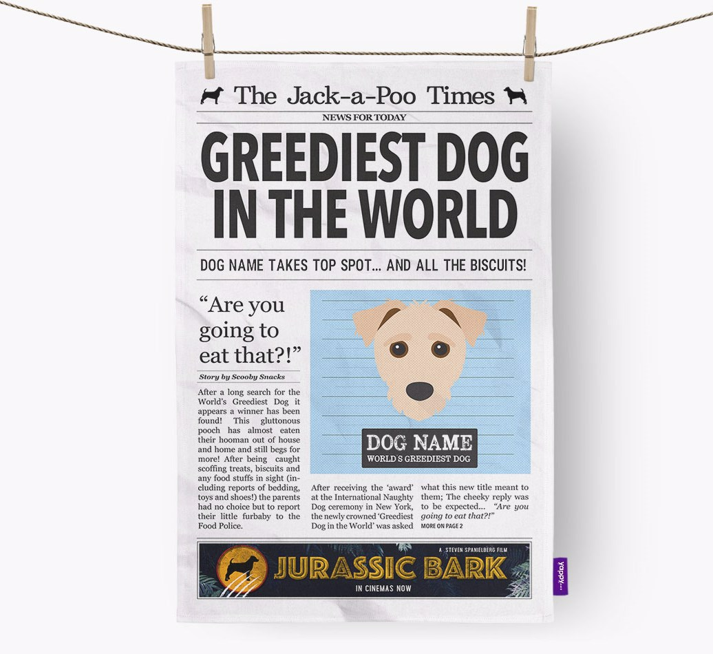 Personalised The Jack-A-Poo Times 'Greediest Dog In The World' Newspaper Tea Towel