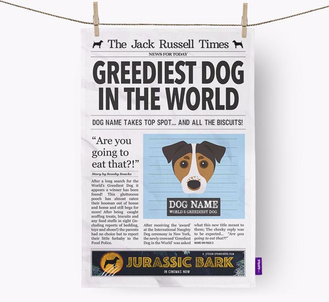 The Jack Russell Times 'Greediest Dog In The World' Personalised Dish Towel