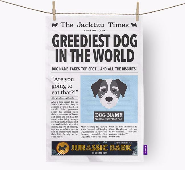 The Jacktzu Times 'Greediest Dog In The World' Personalised Dish Towel