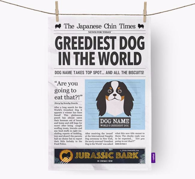 The Chin Times 'Greediest Dog In The World' Personalised Dish Towel