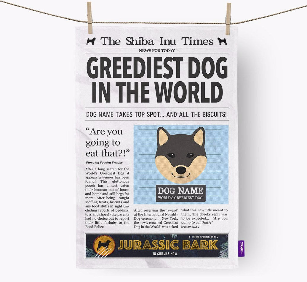 Personalised The Japanese Shiba Times 'Greediest Dog In The World' Newspaper Tea Towel