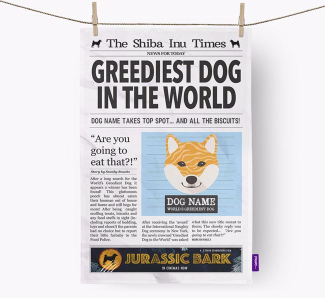 The Shiba Inu Times 'Greediest Dog In The World' Personalised Dish Towel