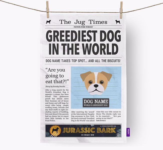 The Jug Times 'Greediest Dog In The World' Personalised Dish Towel