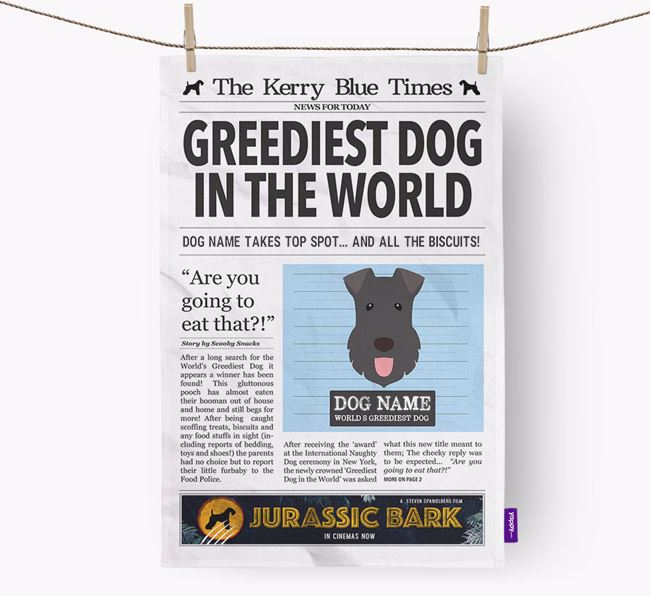 The Kerry Times 'Greediest Dog In The World' Personalised Dish Towel