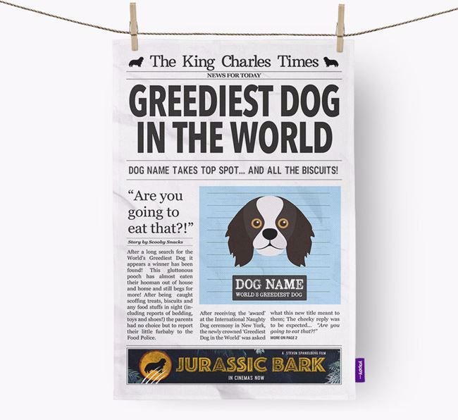 The King Charles Times 'Greediest Dog In The World' Personalised Dish Towel