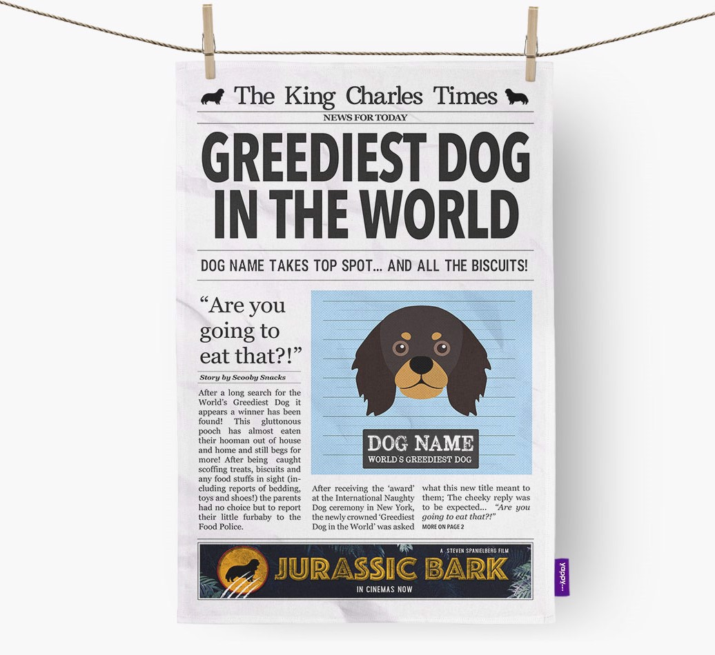 Personalised The King Charles Spaniel Times 'Greediest Dog In The World' Newspaper Tea Towel