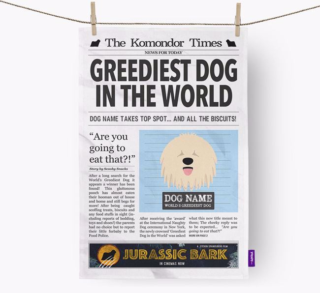 The Komondor Times 'Greediest Dog In The World' Personalised Tea Towel