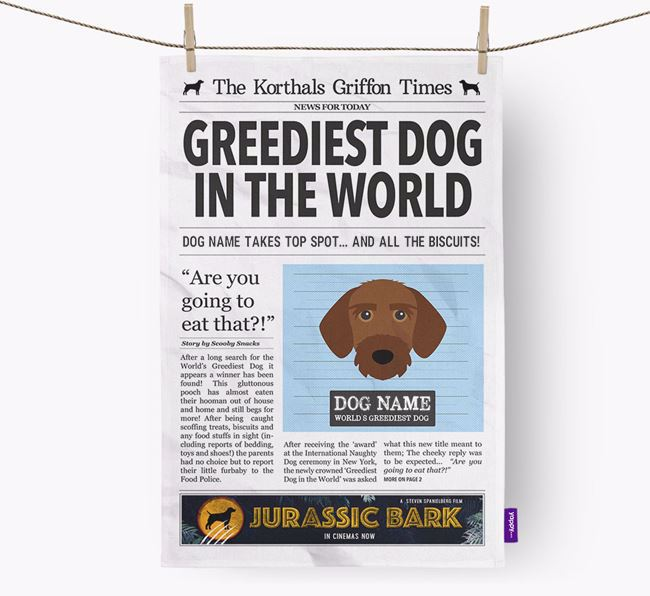 The Korthals Times 'Greediest Dog In The World' Personalised Dish Towel
