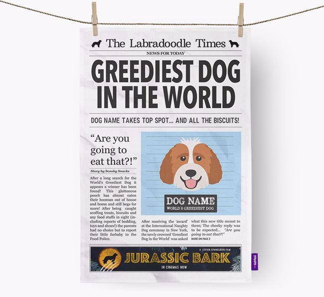 The Labradoodle Times 'Greediest Dog In The World' Personalised Dish Towel