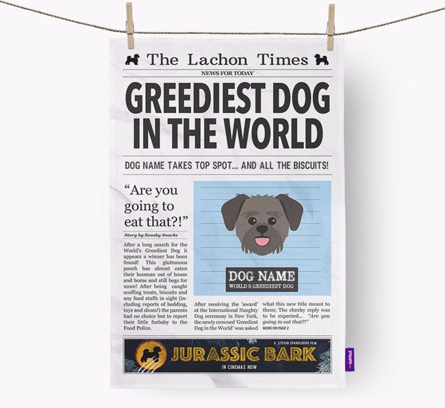 The Lachon Times 'Greediest Dog In The World' Personalised Dish Towel