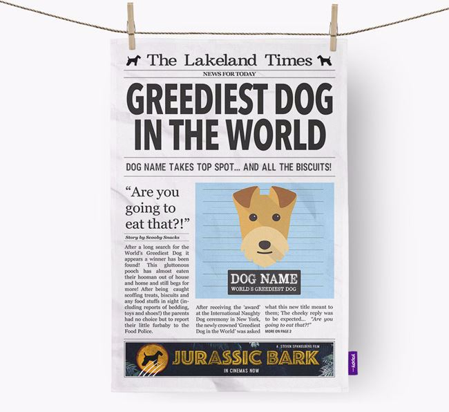 The Lakie Times 'Greediest Dog In The World' Personalised Dish Towel