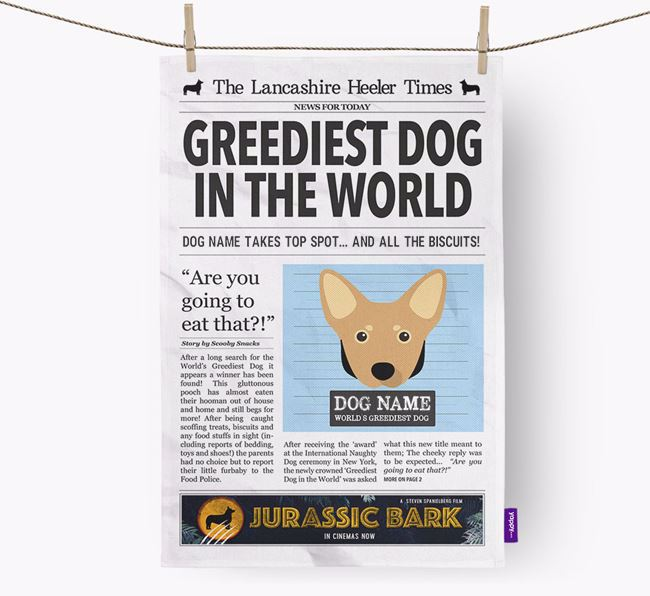 The Heeler Times 'Greediest Dog In The World' Personalised Dish Towel