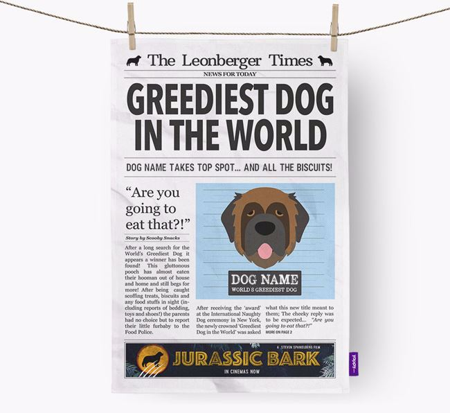 The Leonberger Times 'Greediest Dog In The World' Personalised Dish Towel