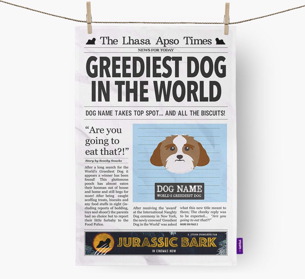 Personalised The Lhasa Apso Times 'Greediest Dog In The World' Newspaper Tea Towel