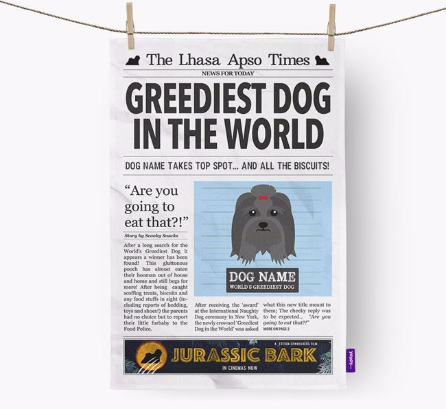The Lhasa Apso Times 'Greediest Dog In The World' Personalised Dish Towel