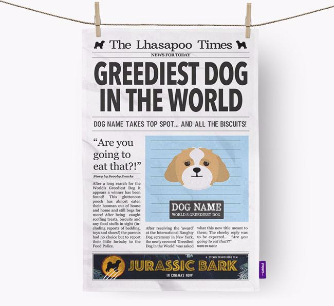 The Lhasapoo Times 'Greediest Dog In The World' Personalised Dish Towel