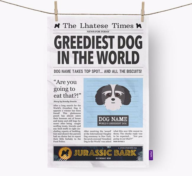 The Lhatese Times 'Greediest Dog In The World' Personalised Dish Towel
